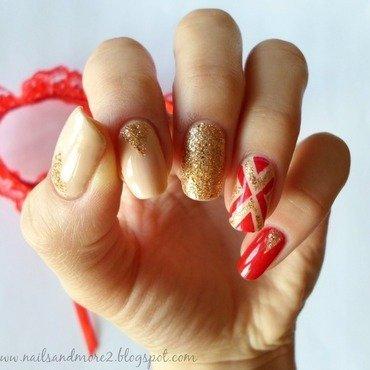 golden mix nail art by Edyta