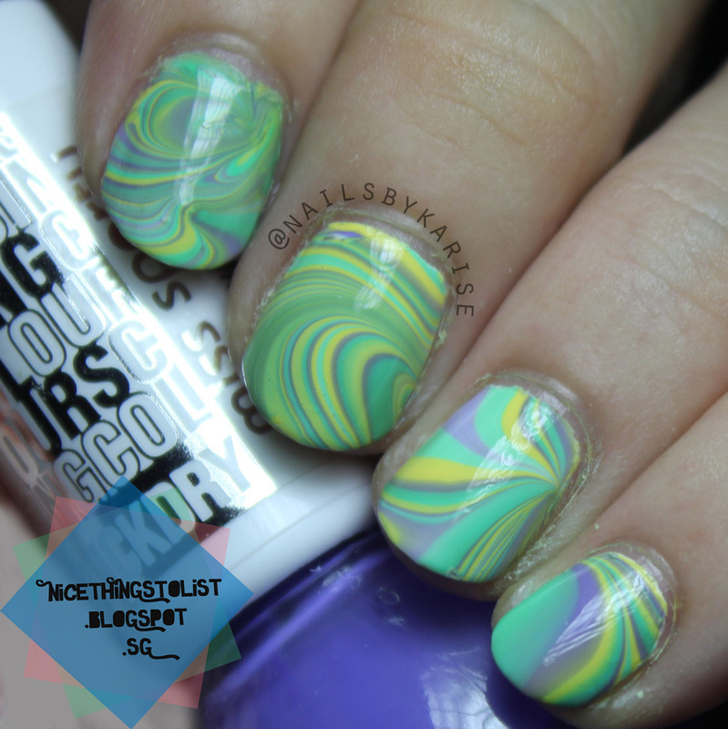 Yellow, Green, Purple Water Marble nail art by Karise Tan