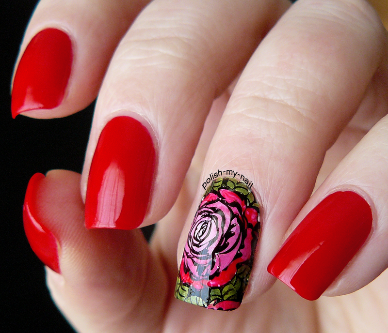 Rosey decal nail art by Ewlyn