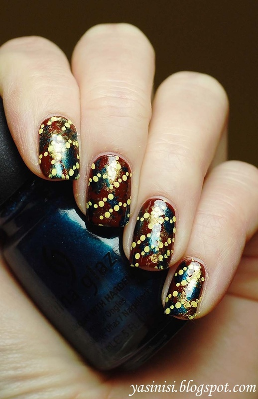 Dots over mixed colours nail art by Yasinisi