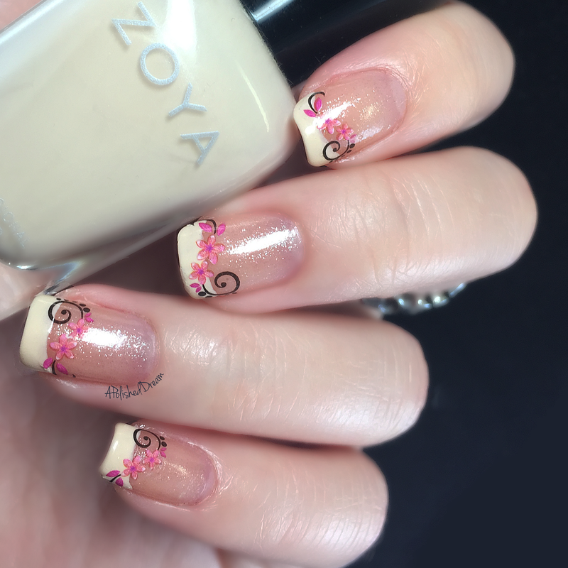 Simple Floral decal french tip. nail art by Amey