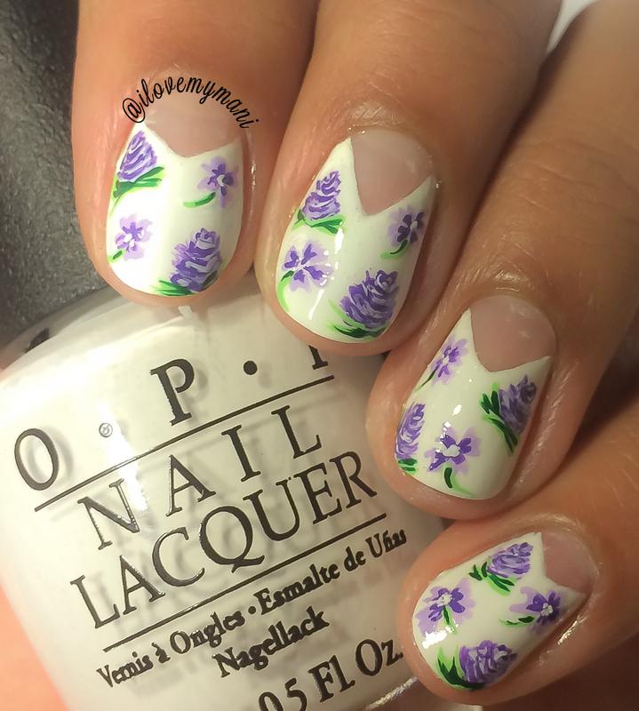 Purple Floral nail art nail art by Gabrielle