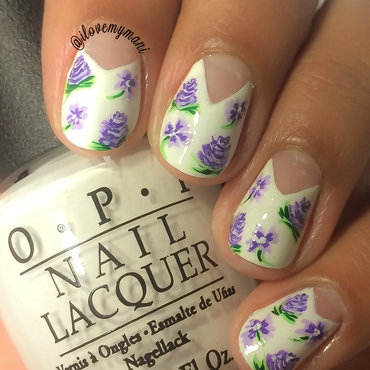Purple Floral nail art nail art by Gabrielle