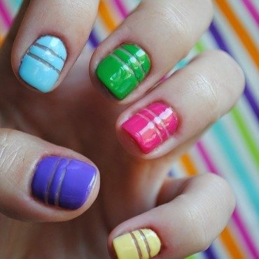 Colourful stripes nail art by Niska