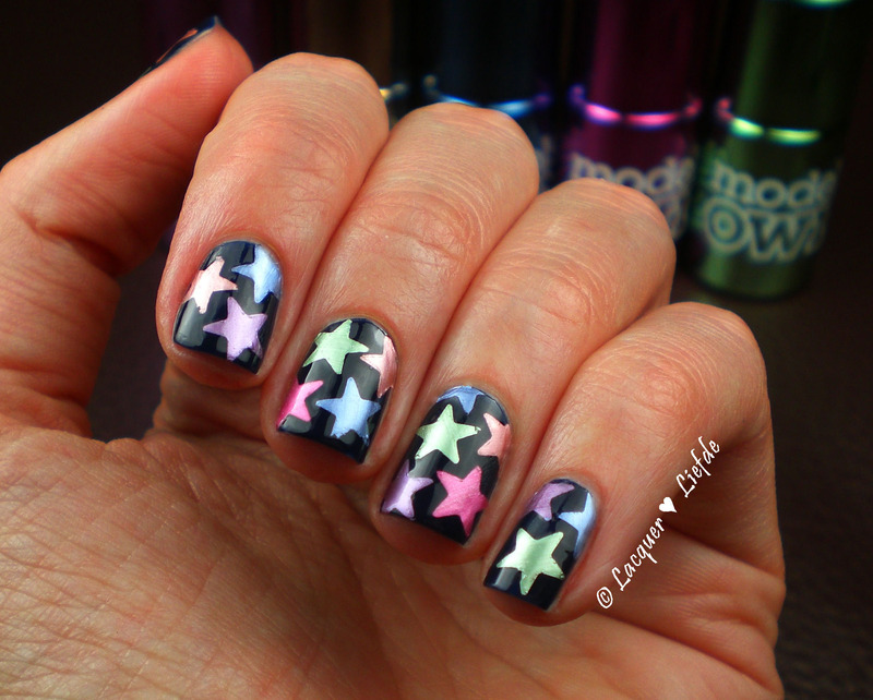 Chrome Stars nail art by Anna