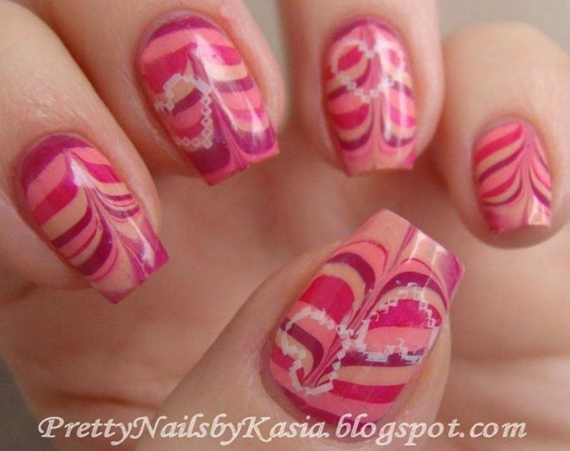 Valentine's Water Marble nail art by Pretty Nails by Kasia