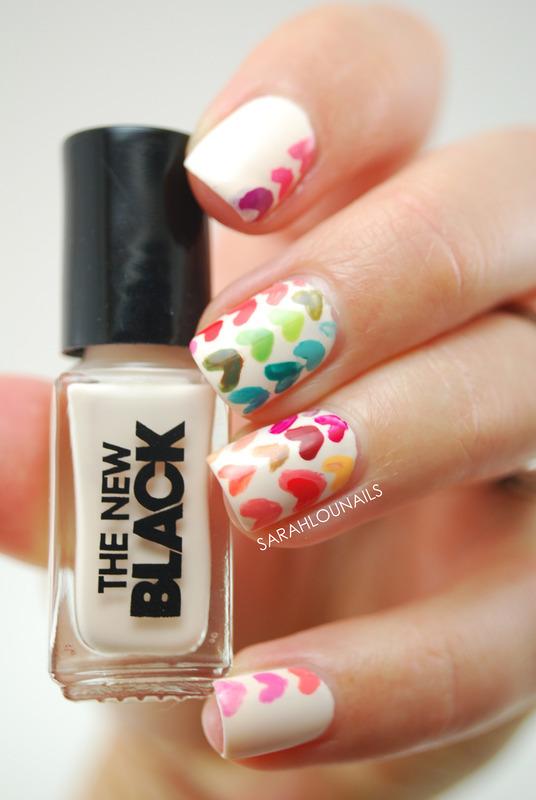 Rainbow Heart Nails nail art by Sarah S