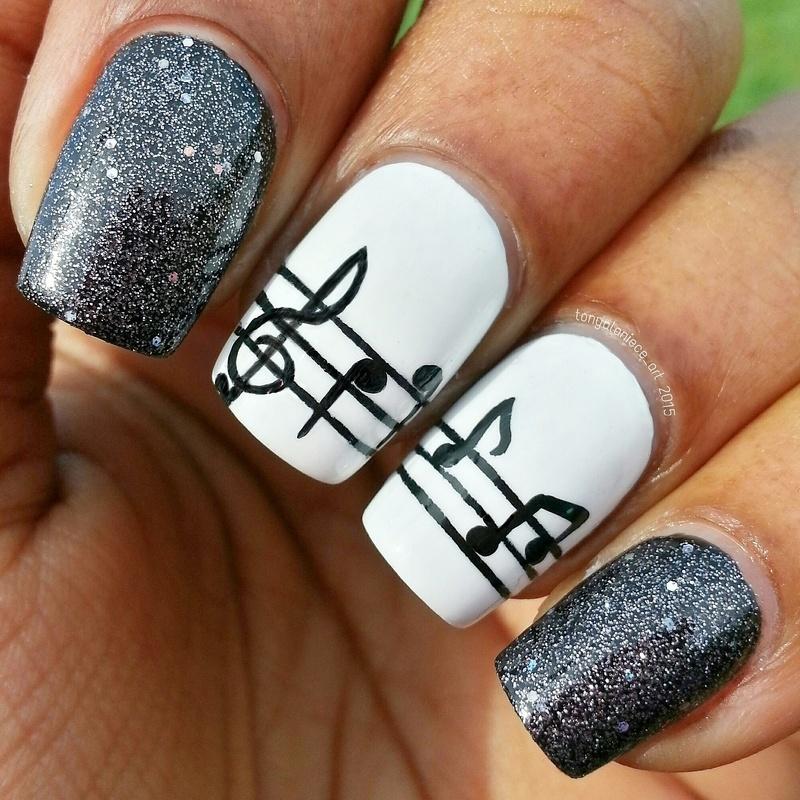 Musical Mani nail art by Tonya