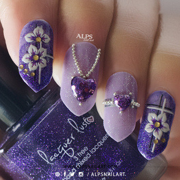 3D Amethyst Jewelry Valentines Day nails by @alpsnailart nail art by Alpsnailart