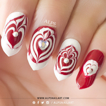 Water Marble Heart Nails Tutorial by @alpsnailart nail art by Alpsnailart