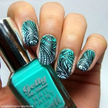 Gradient Stamping nail art by Kizzy