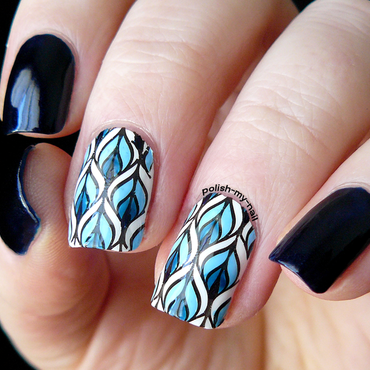 Something blue nail art by Ewlyn