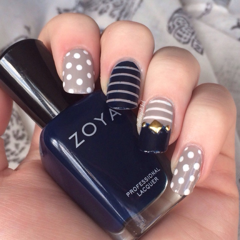 Navy and Grey Skitlette  nail art by allwaspolished