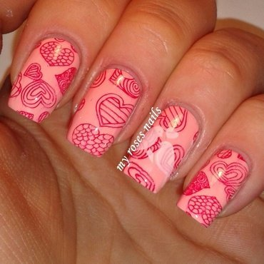 Valentine's day manicure nail art by Ewa