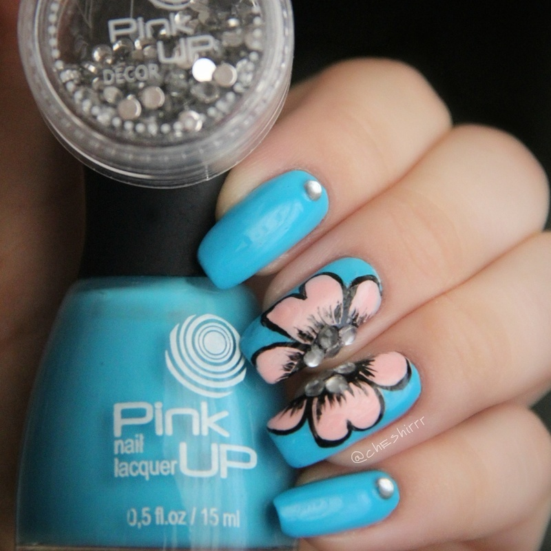 pink flowers nail art by cheshirrr