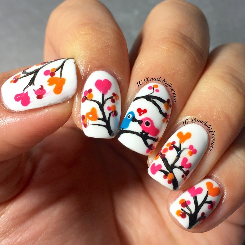 Love birds nail art by Jonna Dee - Nailpolis: Museum of Nail Art