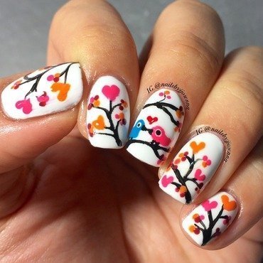 Love birds nail art by Jonna Dee