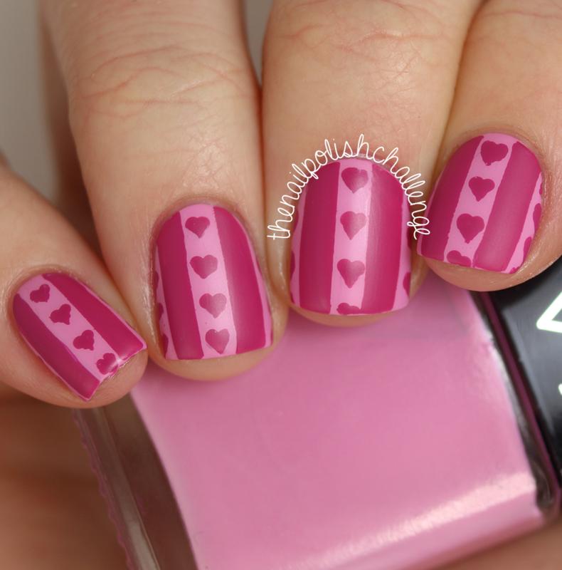 Hearts and Stripes nail art by Kelli Dobrin