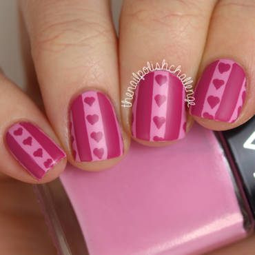 Hearts and Stripes nail art by Kelli Dobrin