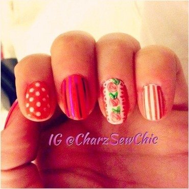 Pink chic nail art by Charlotte Speller