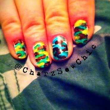 Army camouflage  nail art by Charlotte Speller
