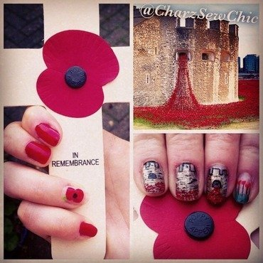 Tower of London poppy display - WW1 Remembrance Day  nail art by Charlotte Speller