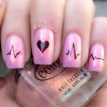 Heartbeat nail art by Melissa