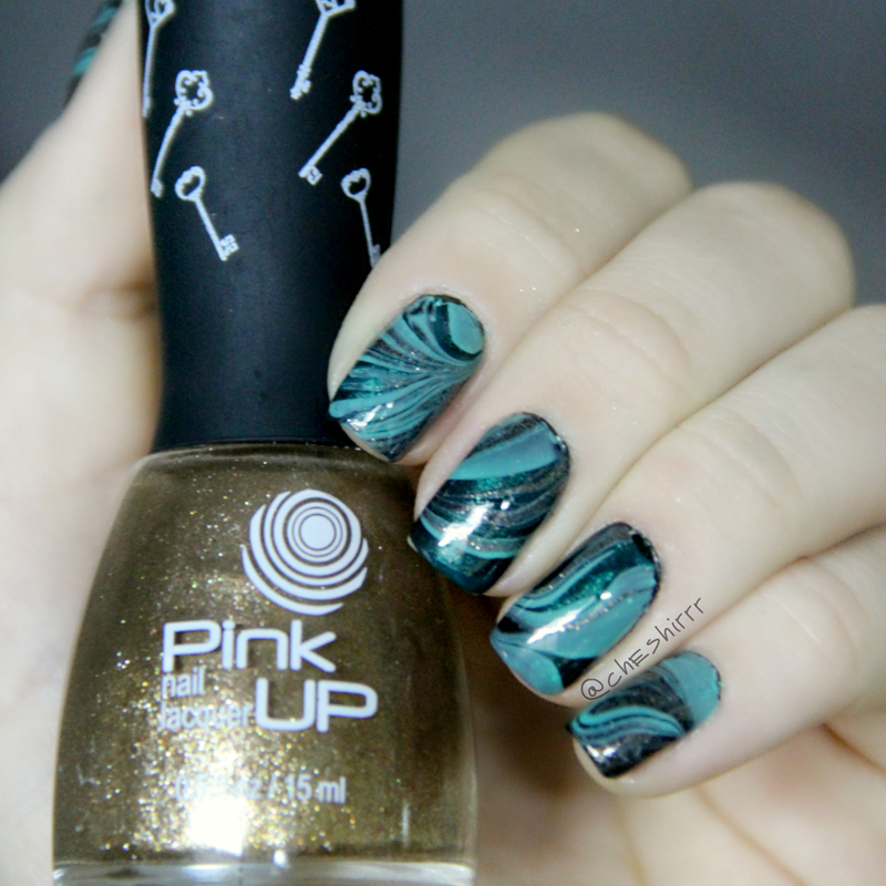 dark green watermarble nail art by cheshirrr