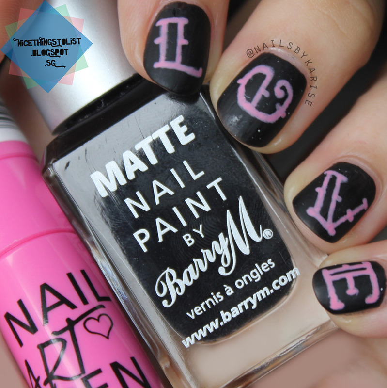 Valentine's Day Chalkboard LOVE nail art by Karise Tan