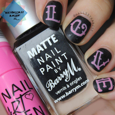 Valentine's Day Chalkboard LOVE nail art by Karise Tan