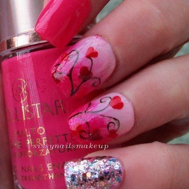 Hot pink nails & hearts nail art by sissynailsmakeup