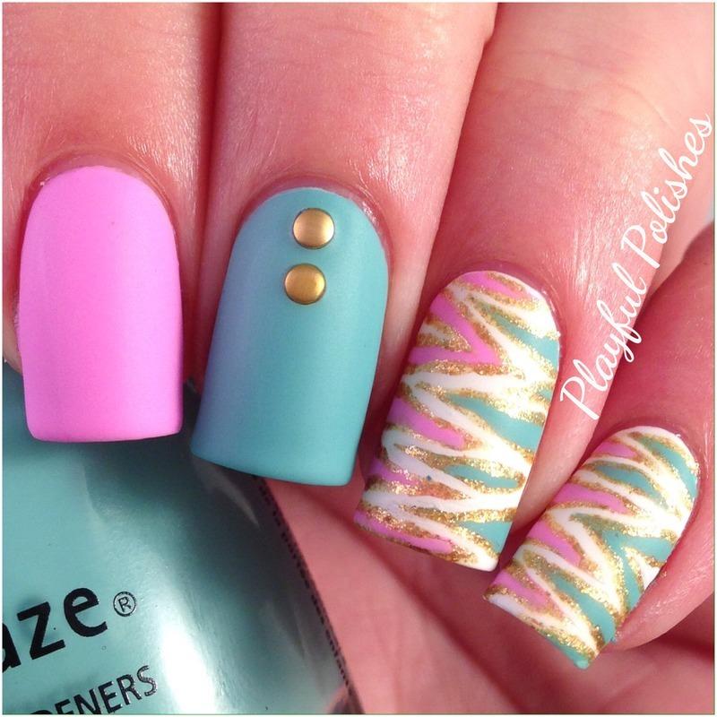 Mattified Tiger Stripe nail art by Playful Polishes