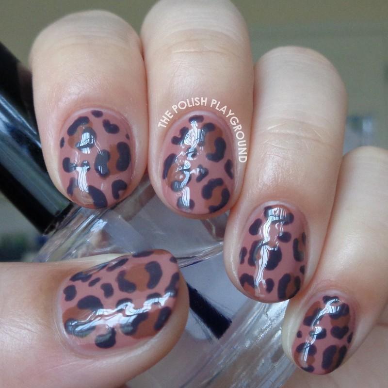 Brown and Purple Leopard Print nail art by Lisa N