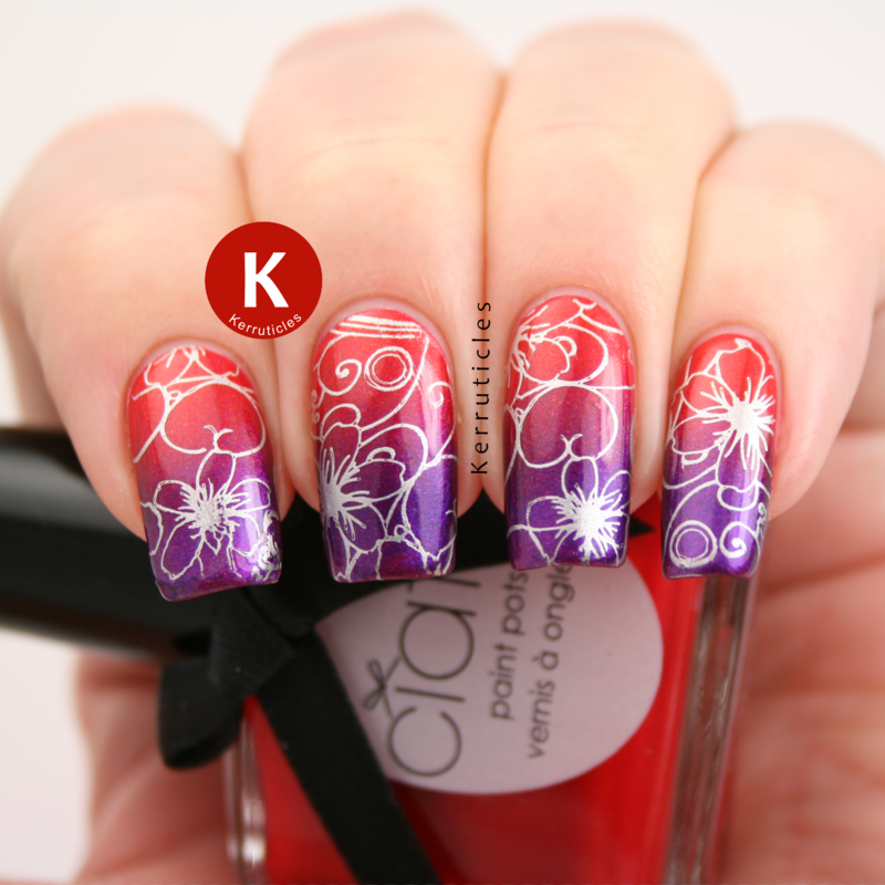 Stamped red and purple gradient nail art by Claire Kerr