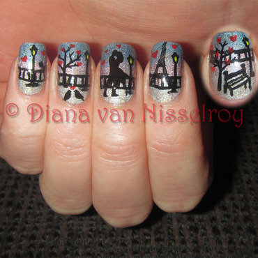 A Romance in Paris nail art by Diana van Nisselroy