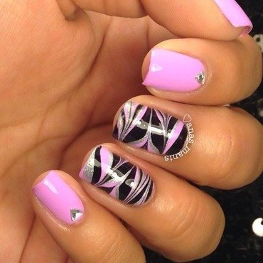 Pink and black watermarble nail art by anas_manis