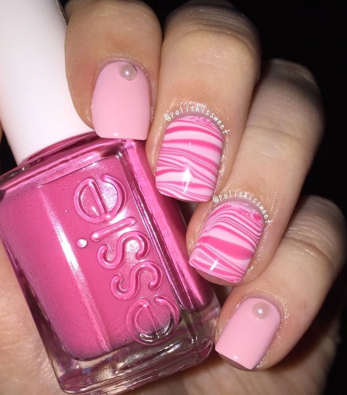 Valentine's Day Inspired Watermarble! nail art by PolishIsSweet