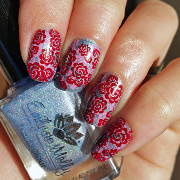 Double Stamped Roses nail art by Serra Clark