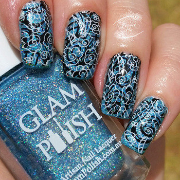 Double Stamping nail art by Serra Clark