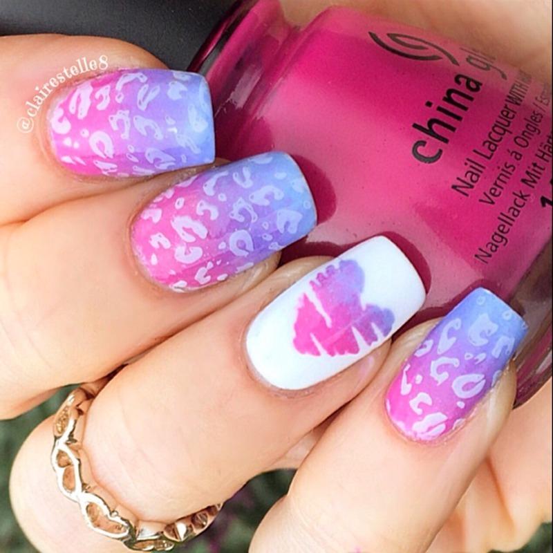 Valentine Leopard nail art by Claire O'Sullivan
