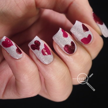 Sparitual Valentines day nail art by Mikrosvět by Ellen