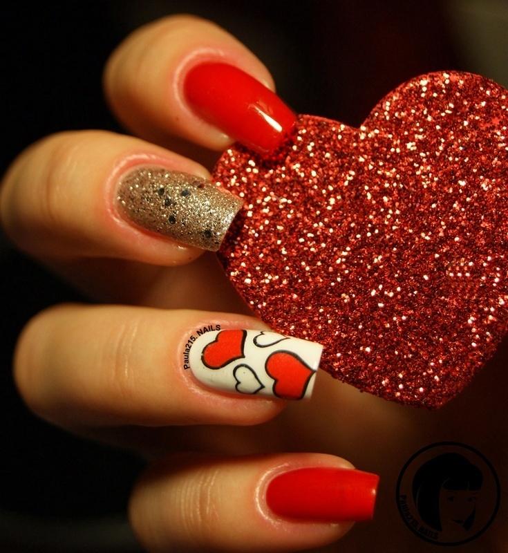 Happy Valentine's Day! nail art by Paula215. NAILS