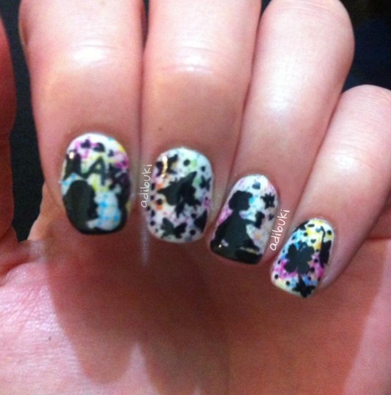 Silhuette Butterflies nail art by Adi Buki