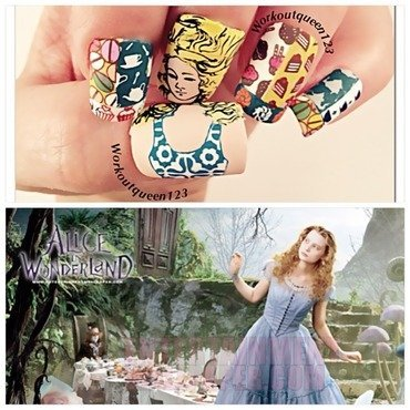 Alice in wonderland nail art by Workoutqueen123