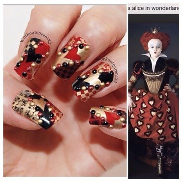 Queen of Hearts from Alice in wonderland nail art by Workoutqueen123