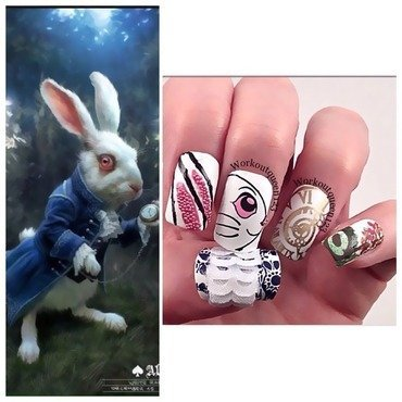 The White Rabbit from Alice in Wonderland nail art by Workoutqueen123