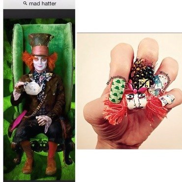 Mad Hatter for Alice in Wonderland nail art by Workoutqueen123