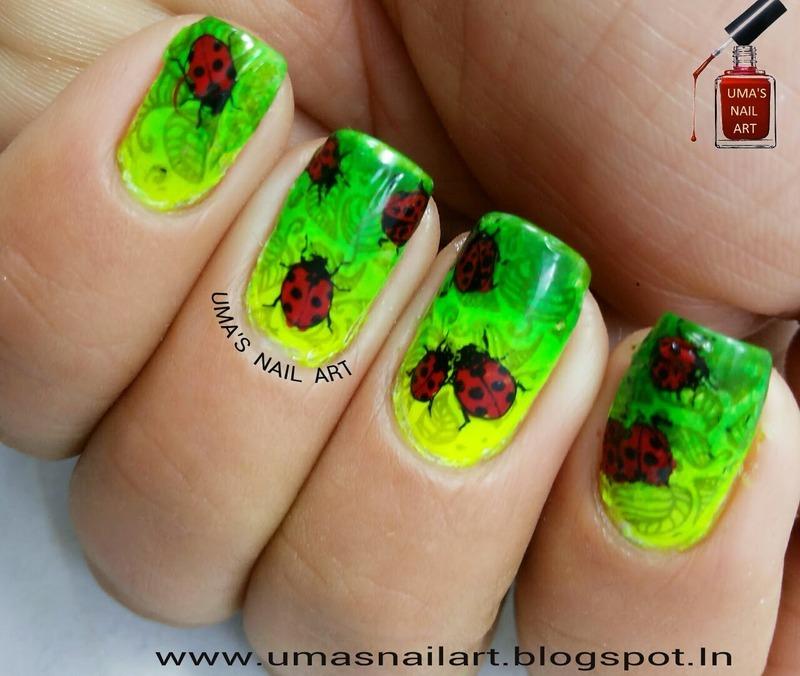 Lady Bug Nails... nail art by Uma mathur