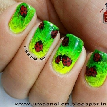 Lady Bug Nails... nail art by Uma mathur