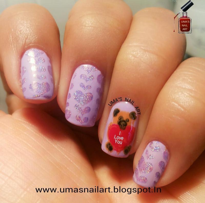 Teddy Day Nails...Valentine Week nail art by Uma mathur